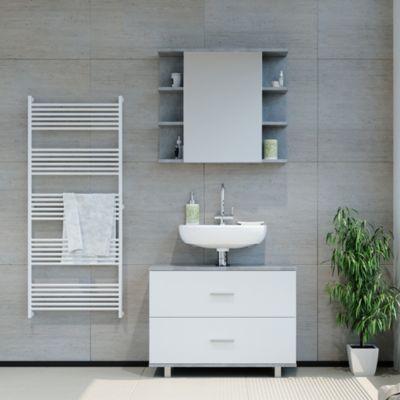 Badmöbel Set ILIAS Weiß Beton Bad Spiegel Unterschrank Badschrank weiß