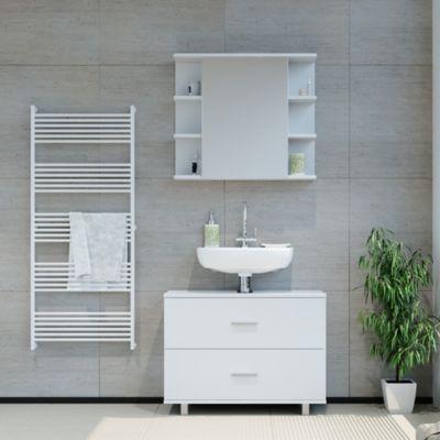 Badmöbel Set ILIAS Weiß  Bad Spiegel Unterschrank Badschrank weiß