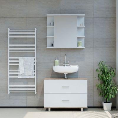 Badmöbel Set ILIAS Weiß Eiche Bad Spiegel Unterschrank Badschrank weiß
