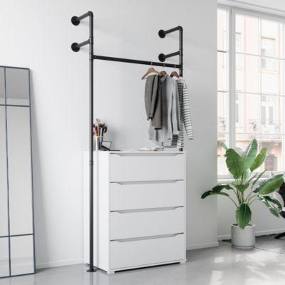 Loft Kleiderschrank RUBEN Kleiderstange Garderobe offen begehbar Kommode 90 cm weiß