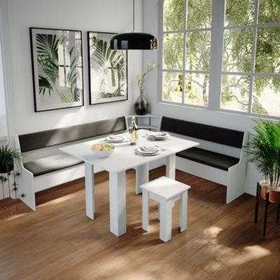 Küchenbank Roman weiß 167cm Sitzbank mit Truhe Esszimmerbank Esstisch  Erwachsene