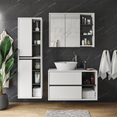 Badmöbel Set Viola Weiß Spiegelschrank Hochschrank Waschtischunterschrank anthrazit