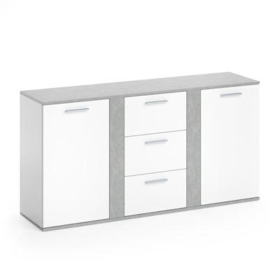 Kommode Novelli mit 2 Türen Weiß Beton grau