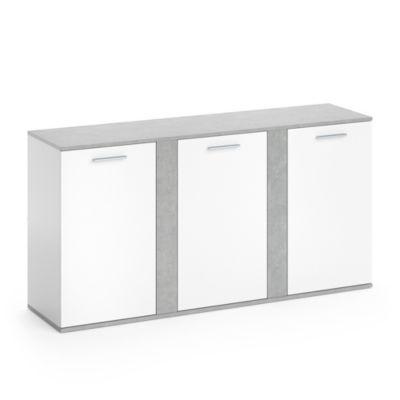 Kommode Novelli mit 3 Türen Weiß Beton grau