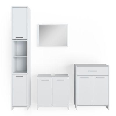Badmöbel Set KIKO Weiß Badezimmer Badspiegel Hochschrank Beistellschrank weiß