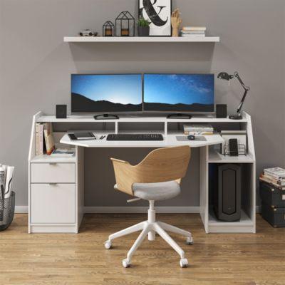Schreibtisch Computertisch Bürotisch Home Joel Weiß Arbeitstisch PC Tisch weiß