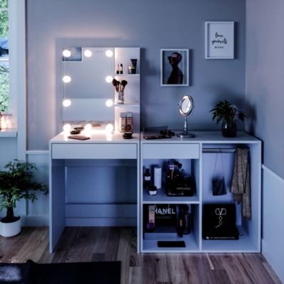 Schminktisch Frisiertisch Kommode Isabelle LED-Beleuchtung Beistellschrank weiß