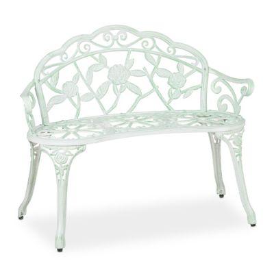relaxdays Rosen Gartenbank weiß-grün weiß-kombi