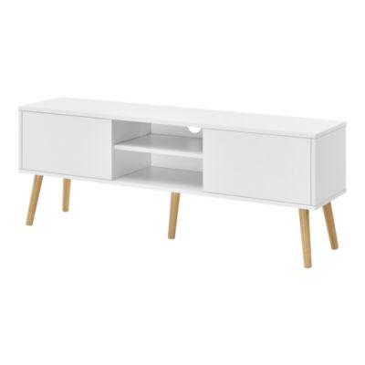 en.casa Fernsehtisch 120x29,5x46,5cm TV Lowboard 20kg mit Schranktüren und Ablagefächern Spanplatte Massivholz in verschiedenen Farben weiß