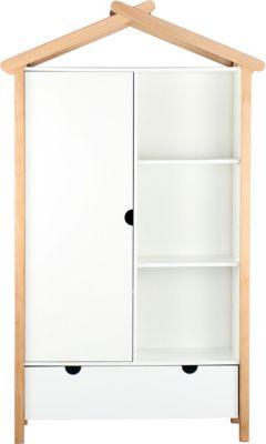 Möbilia Kleiderschrank, B112xT51xH187cm braun/weiß