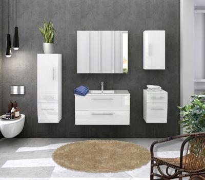 Möbilia 5-tlg. Badezimmer-Set weiß