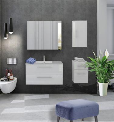 Möbilia 4-tlg. Badezimmer-Set weiß