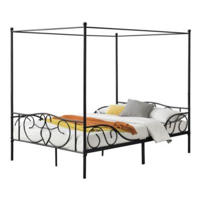 en.casa Himmelbett Metall Bettrahmen mit Lattenrost Jugendbett in verschiedenen Farben und Größen schwarz