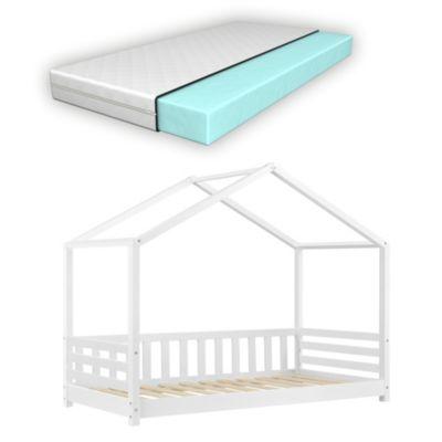 en.casa Kinderbett 80x160cm mit Kaltschaumatratze Hausbett Bettenhaus Spielbett Seitenschutz Weiß weiß Gr. 80 x 160