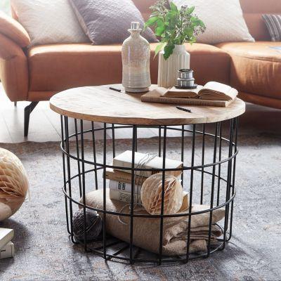 WOHNLING Couchtisch Mango Massivholz Metall 60x43x60 cm Rund Wohnzimmertisch Stauraum Loungetisch Sofatisch braun