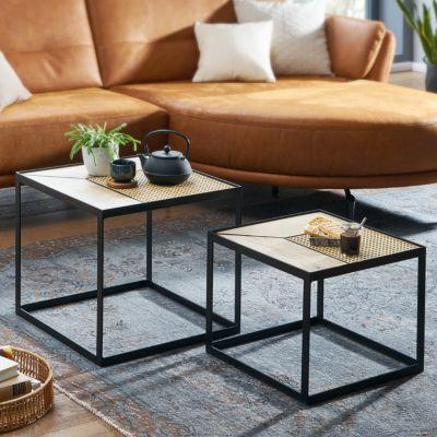 WOHNLING Wohnzimmertisch 2er Set Beistelltisch Eckig Couchtisch  Metallbeine Tischset 2-teilig Satztisch braun