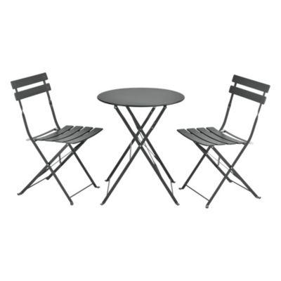 en.casa Bistro Set Balkonset 3-tlg. Tisch 2 Stühle Essgruppe Sitzgruppe Gartenmöbel in verschiedenen Farben dunkelgrau
