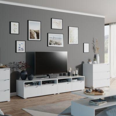 Lowboard Ruben weiß 200cm TV-Board Fernsehschrank TV-Schrank Regal Tisch