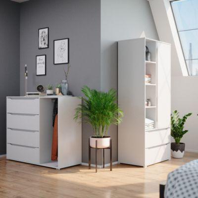 Kommode Schubladenkommode Highboard Ruben mit Kleiderstange 4 Schubladen weiß