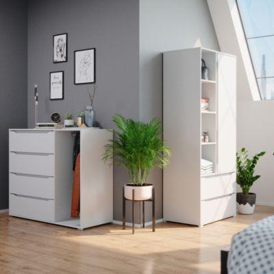Kleiderschrank Schlafzimmerschrank Ruben 80cm mit Kleiderstange Schubladen weiß