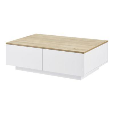 en.casa Couchtisch 95x60x31cm Wohnzimmertisch mit 4 Schubladen Beistelltisch in verschiedenen Farben weiß-kombi