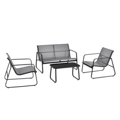 en.casa Gartenmöbelset Sitzgruppe Gartengarnitur Sitzbank 2 Personen mit Couchtisch Gestell aus Stahl in verschiedenen Farben hellgrau  Erwachsene