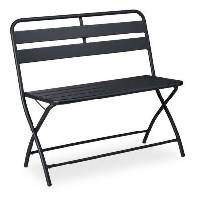 relaxdays Gartenbank klappbar 2-Sitzer anthrazit