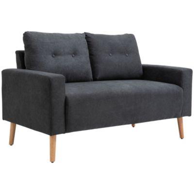 HOMCOM Zweisitzer-Sofa mit getuftete Rückenlehne dunkelgrau