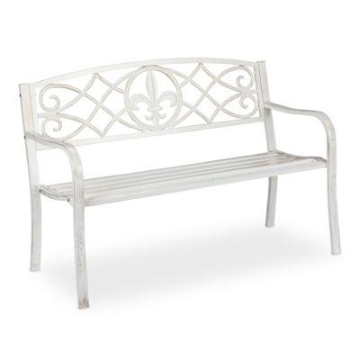 relaxdays Gartenbank aus Metall weiß
