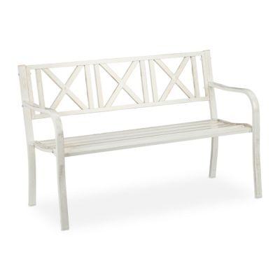 relaxdays Gartenbank Metall weiß