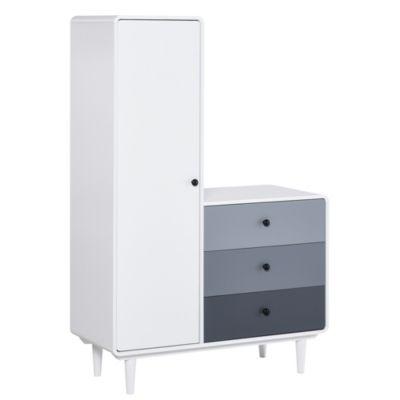HOMCOM Kleiderschrank mit Nachttisch weiß/grau