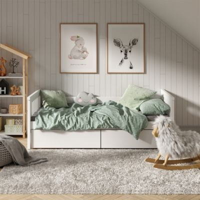 Tagesbett Luna Kinderbett 90x200cm mit Matratze Jugendbett Bettgestell weiß Gr. 90 x 200