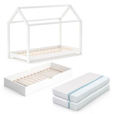 Kinderbett Wiki 90x200 Weiß mit Unterbett und zwei Matratzen weiß Gr. 90 x 200