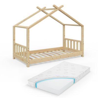 Kinderbett Design 80x160 Naturholz mit Matratze natur Gr. 80 x 160