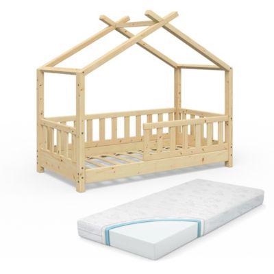 Kinderbett Design 70x140 Naturholz mit Matratze natur Gr. 70 x 140