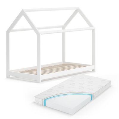 Hausbett Wiki 80x160 cm Weiß mit Matratze weiß Gr. 80 x 160