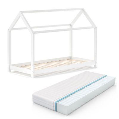 Kinderbett Wiki 90x200 Weiß mit Matratze weiß Gr. 90 x 200