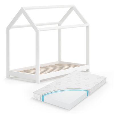 Hausbett Wiki 70x140 cm Weiß mit Matratze weiß Gr. 70 x 140