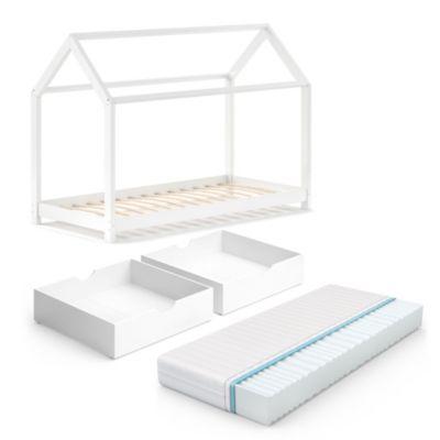 Kinderbett Wiki 90x200 Weiß mit Schubladen und Matratze weiß Gr. 90 x 200