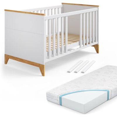 Kinderbett MaliaWeiß Naturholz mit Matratze weiß Gr. 80 x 140