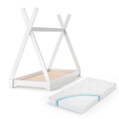 Kinderbett TIPI 80 x 160 cm Weiß mit Matratze weiß