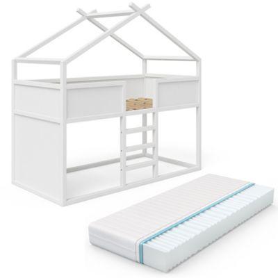 Kinderhochbett Merlin Erle Weiß mit Matratze weiß Gr. 90 x 200