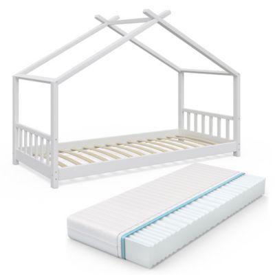 Design Kinderbett 90x200cm Weiß mit Matratze weiß Gr. 90 x 200