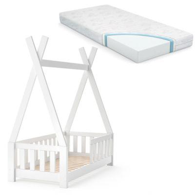 Kinderbett TIPI 70 x 140 cm Weiß mit Matratze weiß
