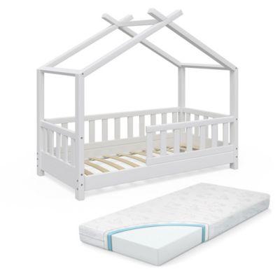 Kinderbett Design 70x140 cm mit Zaun und Matratze Weiß weiß Gr. 140 x 140