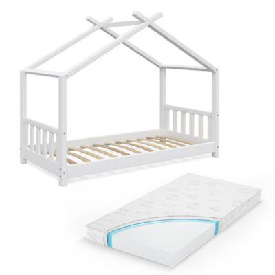 Kinderbett Design 80x160 cm mit Matratze Weiß weiß Gr. 80 x 160