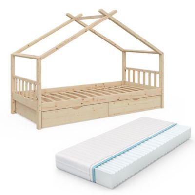 Kinderbett Design mit Zwei Schubladen, Lattenrost und Matratze natur Gr. 90 x 200