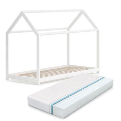 Hausbett Wiki 90x200 cm Weiß mit Matratze weiß Gr. 90 x 200