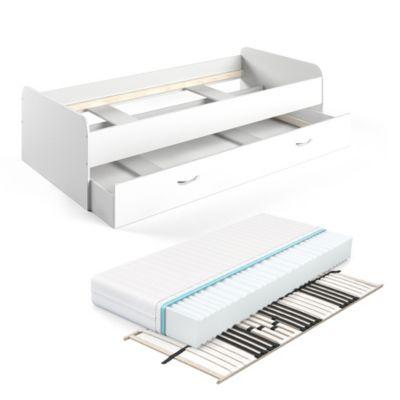 Bett Enzo mit Gästeliege 90x200cm Weiß mit Lattenrost und Matratze weiß
