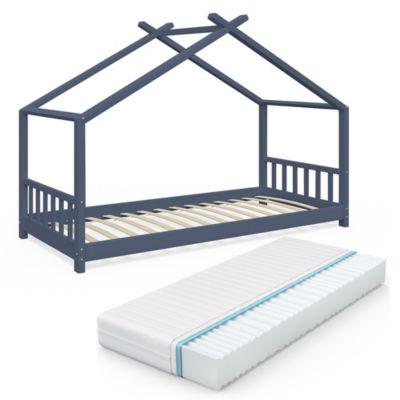 Kinderbett Design Anthrazit mit Matratze anthrazit Gr. 90 x 200